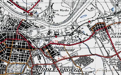 Old map of Cargo Fleet in 1947