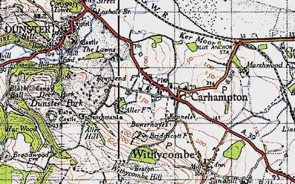 Old map of Aller Hill in 1946