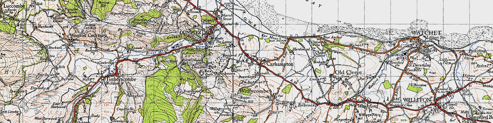 Old map of Carhampton in 1946