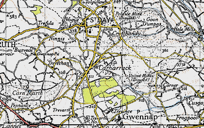 Old map of Carharrack in 1946