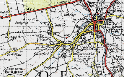 Old map of Carisbrooke in 1945