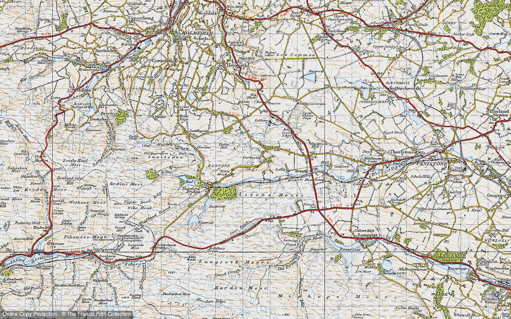 Old Map of Historic Map covering Thurlstone Moors in 1947