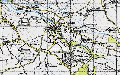Old map of Carloggas in 1946