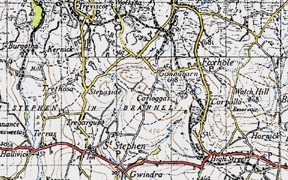 Old map of Carloggas in 1946
