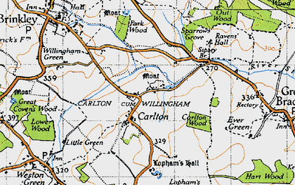 Old map of Carlton in 1946