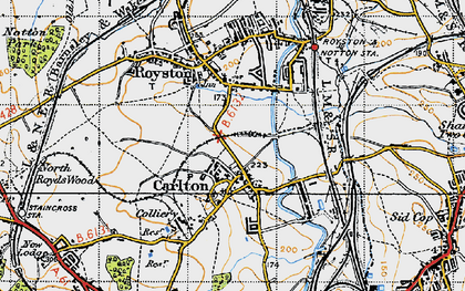 Old map of Carlton in 1947