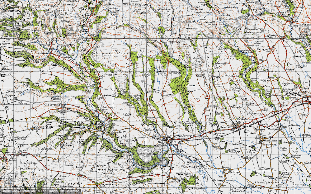 Old Map of Historic Map covering Ash Dale in 1947