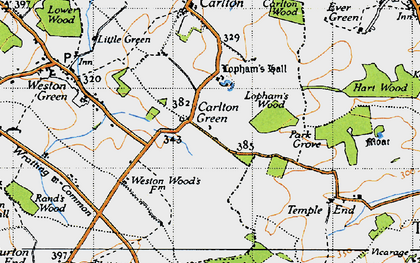 Old map of Carlton Green in 1946