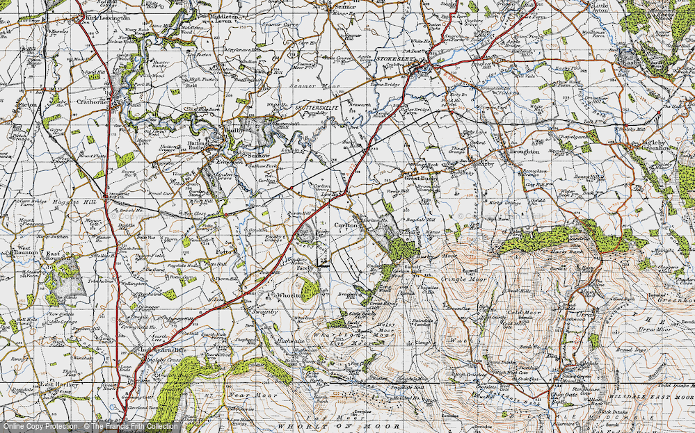 Old Map of Historic Map covering Thwaites Ho in 1947
