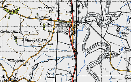Old map of Carlton-on-Trent in 1947