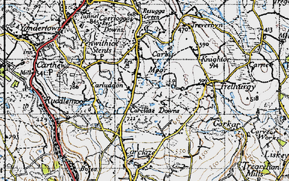 Old map of Carluddon in 1946