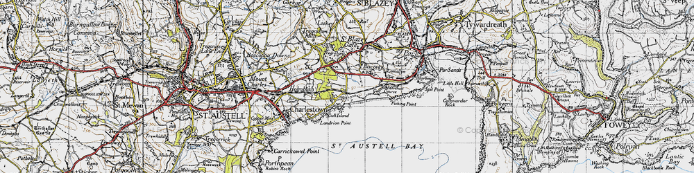 Old map of Carlyon Bay in 1946