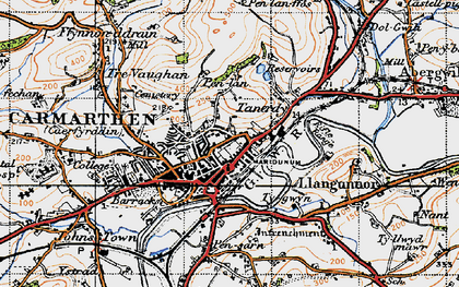 Old map of Carmarthen in 1946