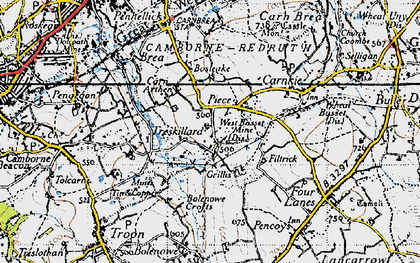 Old map of Carn Arthen in 1946