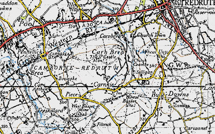 Old map of Carn Brea in 1946