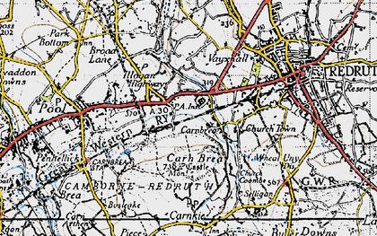 Old map of Carn Brea Village in 1946