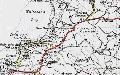 Old map of Carn Towan in 1946
