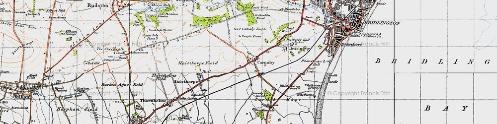 Old map of Carnaby in 1947