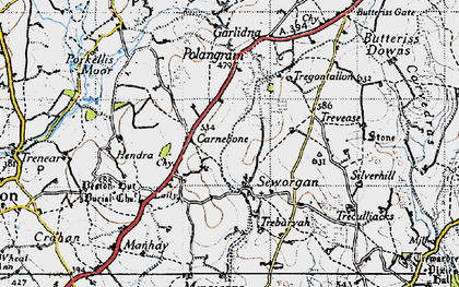 Old map of Carnebone in 1946