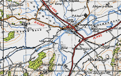 Old map of Afon Carno in 1947