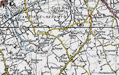 Old map of Carnkie in 1946