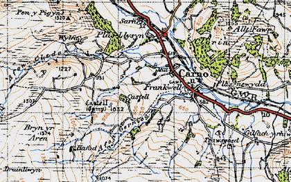Old map of Carno in 1947