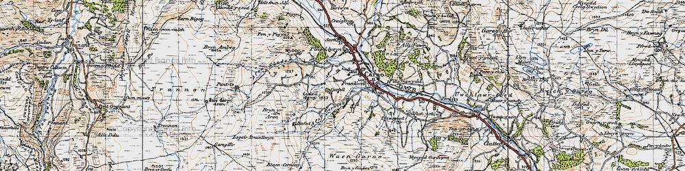 Old map of Afon Cerniog in 1947