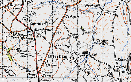 Old map of Caroe in 1946