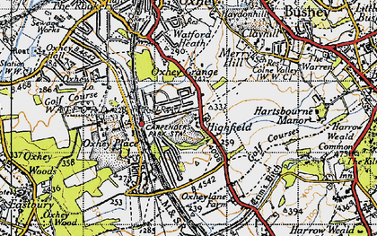 Old map of Carpenders Park in 1945