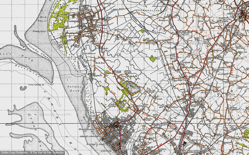 Old Map of Historic Map covering Baines Bridge in 1947
