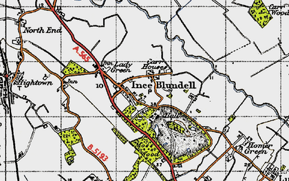 Old map of Baines Bridge in 1947