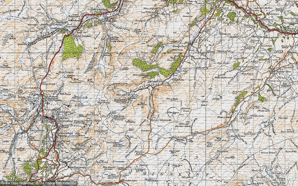 Old Map of Historic Map covering Afon y Foel in 1947