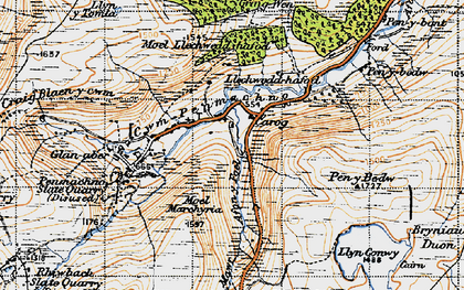 Old map of Cwm Penmachno in 1947
