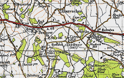 Old map of Carrow Hill in 1946