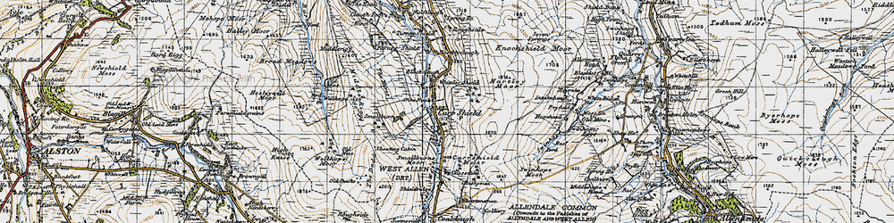 Old map of Whiteley Shield in 1947