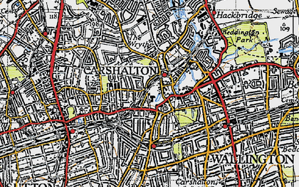 Old map of Carshalton in 1945