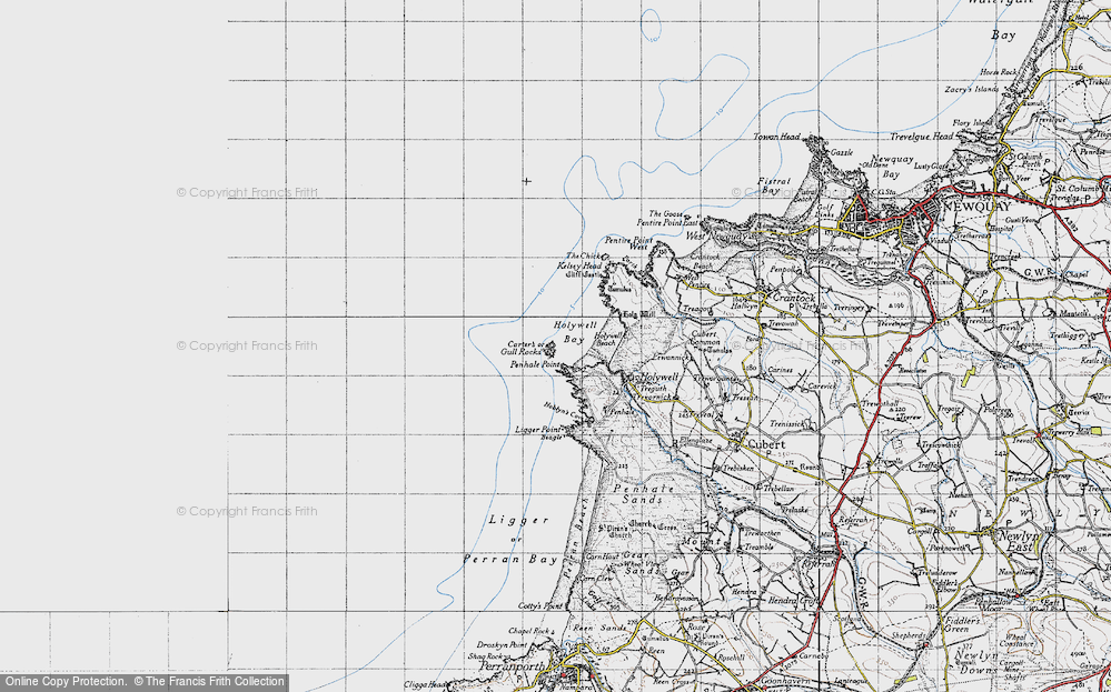 Old Map of Historic Map covering Ligger Point in 1946