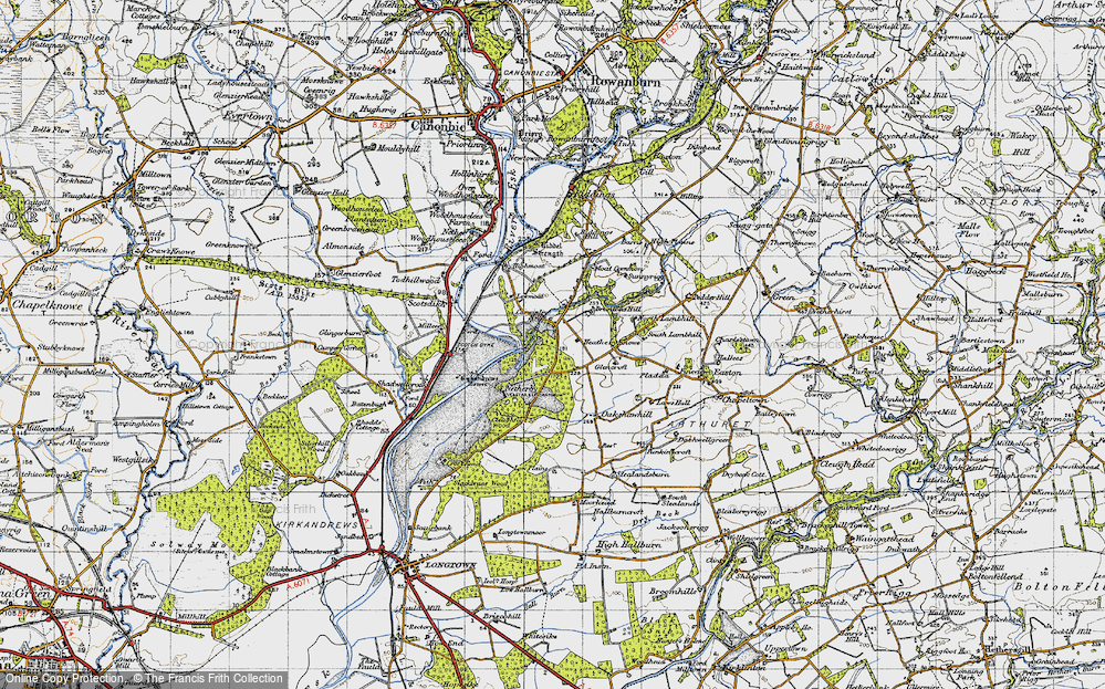 Old Map of Historic Map covering Todhillwood in 1947