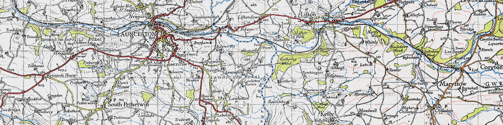 Old map of Wishworthy in 1946