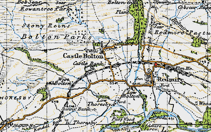 Old map of Castle Bolton in 1947