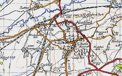 Old map of Castle Cary in 1945