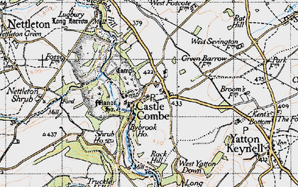 Old map of Castle Combe in 1946