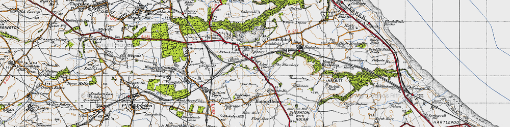 Old map of Castle Eden in 1947