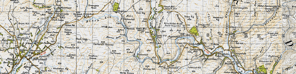 Old map of Whiteyett in 1947