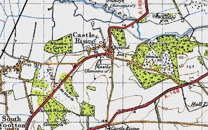 Old map of Castle Rising in 1946