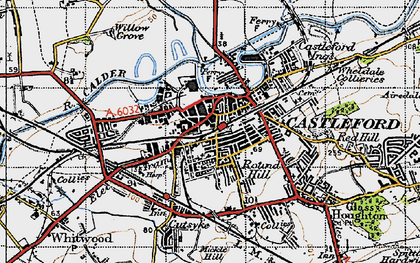 Old map of Castleford in 1947