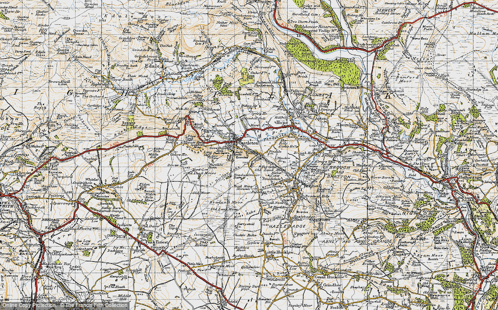 Old Map of Historic Map covering Limestone Way in 1947