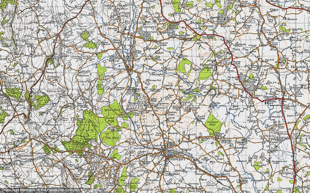 Old Map of Historic Map covering Aylesmore in 1947