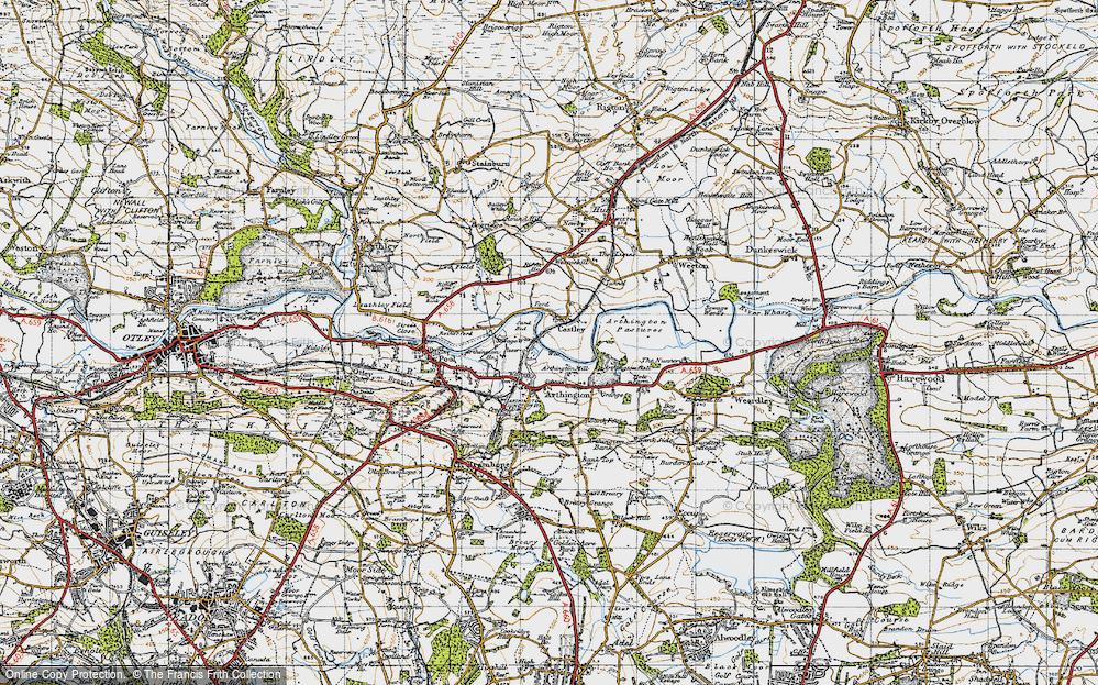 Old Map of Historic Map covering Arthington Ho in 1947
