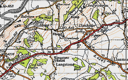 Old map of Cat's Ash in 1946